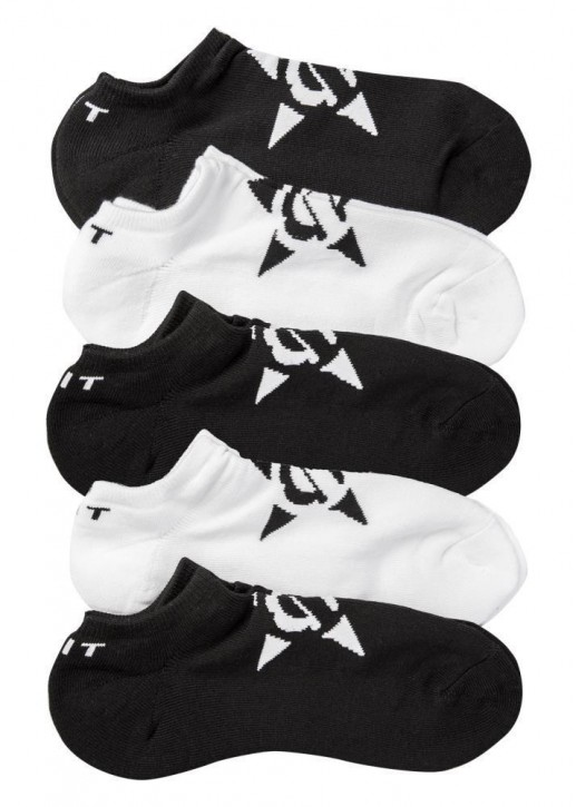 UNIT - NO SHOW SOCKS 5 PACK BLACK WHITE