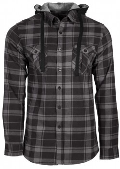 UNIT - COMRADE HOODED FLANNEL BLACK