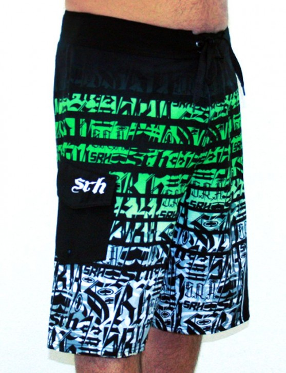 SRH - HORIZON BOARD SHORT BLACK/GREEN