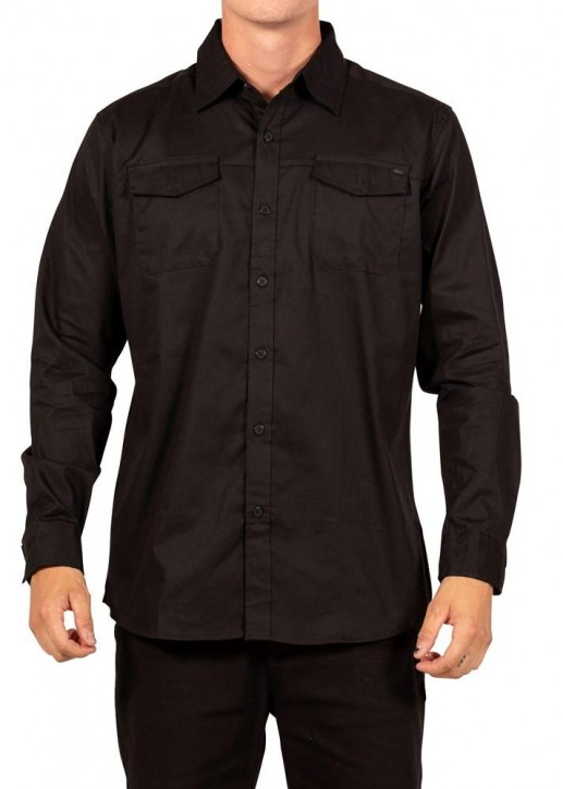 UNIT - COUNTY DRESS LONG SLEEVE SHIRT BLACK