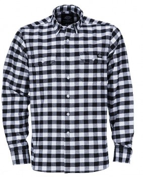 DICKIES - JACKSONVILLE LONG SLEEVE SHIRT BLK/WHITE