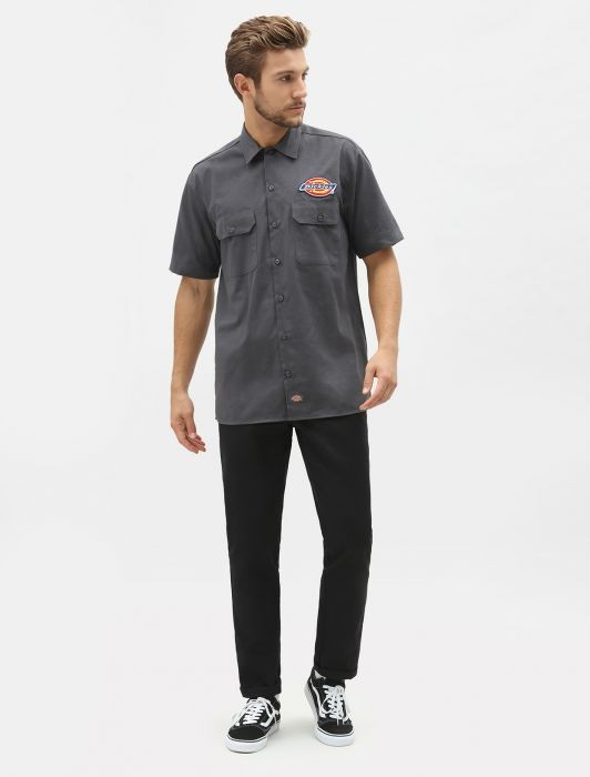 DICKIES - CLINTONDALE WORK SHIRT CHARCOAL GREY