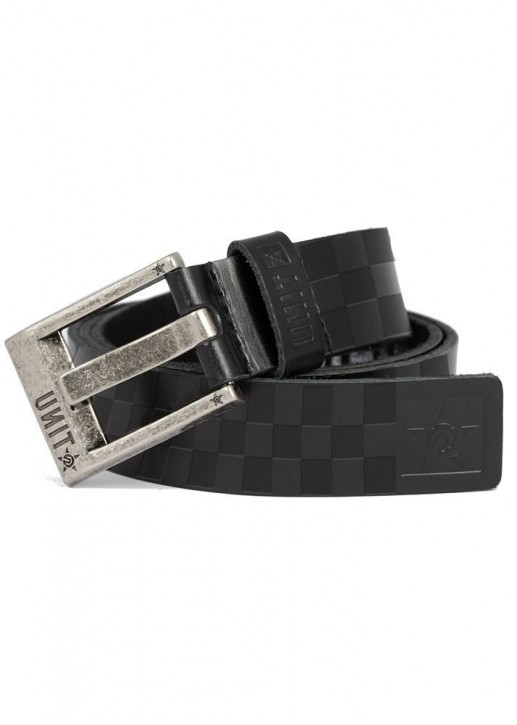 UNIT - CHECKERS LEATHER BELT BLACK
