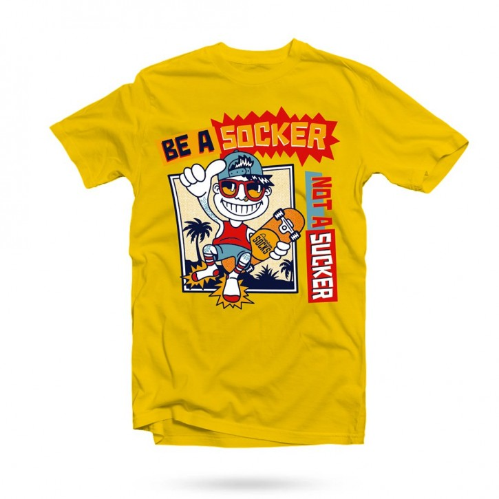 AMERICAN SOCKS - BE A SOCKER, NOT A SUCKER T-SHIRT YELLOW