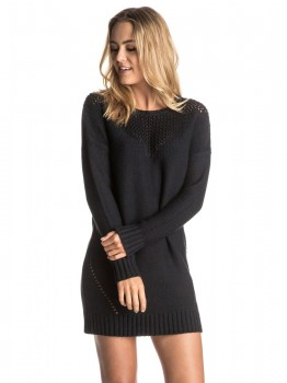 ROXY - LONELY SEA SWEATER DRESS BLACK