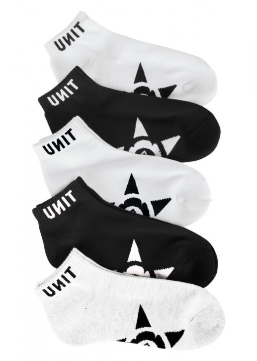 UNIT - LO LUX SOCKS 5 PACK BLACK WHITE