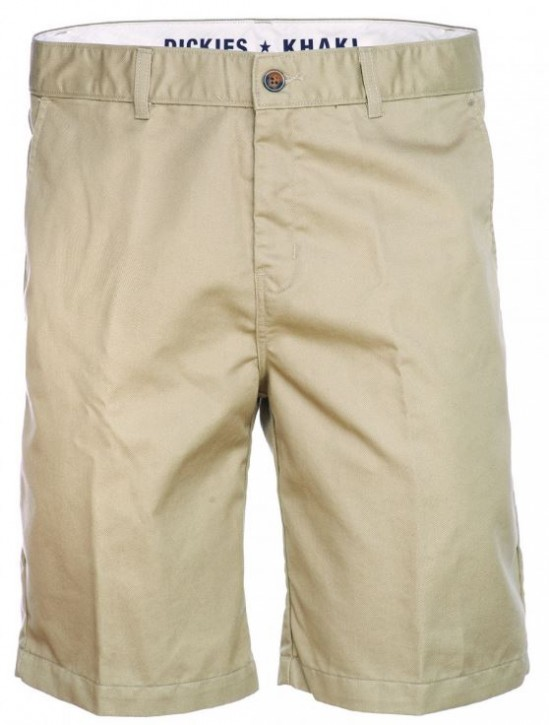 "DICKIES - KHAKI 10"" REGULAR FIT FLAT FRONT SHORT"