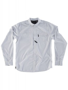 RED DRAGON - CHEX L/S BUTTON UP WHITE