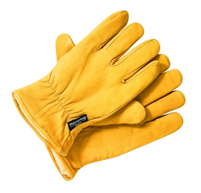 DICKIES - LINED LEATHER GLOVES BROWN