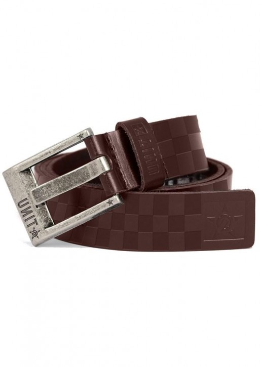 UNIT - CHECKERS LEATHER BELT DARK CHOC