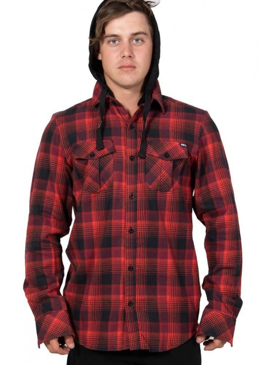 UNIT - CHESTER HOODED FLANNEL RED