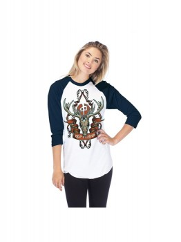 RED DRAGON - WMS DEER SKULL RAGLAN WHITE/NAVY