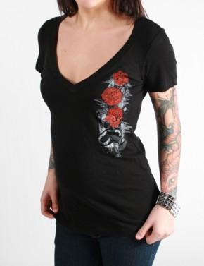 SRH - Rose Down V-Neck Black