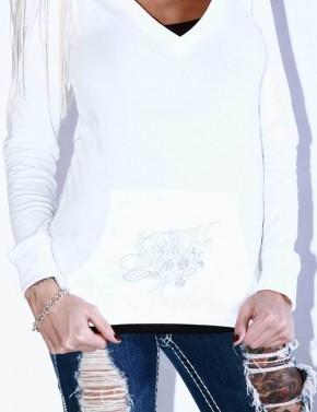 SRH - STRIKING ROSE V NECK HOODED L/S WHITE