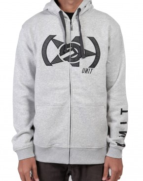 UNIT - HUNTER ZIP UP HOODY GREY MARLE
