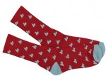 MACBETH - MICRO PENNANT CREW SOCKS RED/DUSTY BLUE